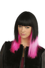 Long Black & Neon Pink Wig Glamour Celebrity Fancy Dress Accessory Jessie J
