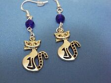 NEW TIBETAN SILVER CUTE CAT EARRNGS, STERLING SILVER WIRES, SAPPHIRE BLUE BEADS