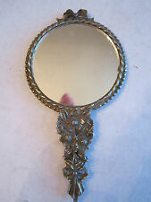 "VTG SILVER PLATED HAND MIRROR - HEAVY - 5 1/2"" LONG"
