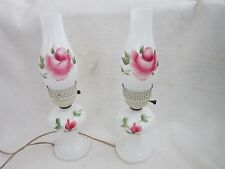 Vintage Matching Pair Hand Painted Roses Hurricane Table Lamps