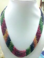 239ct +Designer 5 Strand Emerald Sapphire Ruby Multi colors gemstone necklace AA