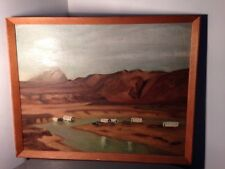 Primitive Vintage Western Wagon Train Oil Painting On Board Unsigned Folk Art