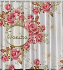 "PERSONALIZED SHOWER CURTAIN Pink Roses Butterflies Flowers Name 70"" Fabric Decor"