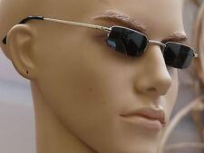 Sonnenbrille Herrenbrille schmale Gläser  elegant schwarz/silber  V-948