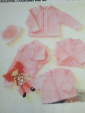 Knitting Pattern For Baby's Boleros Cardigans & Hat In DK Sizes 12-22in 31-56cm