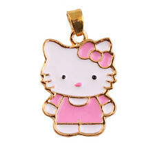 Hello Kitty Charm Pendant Pink White Enamel, 24K Gold Plated, Free Chain, USA