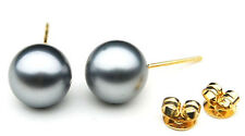 $899 Pacific Pearls® AA 9 mm Tahitian Gray Pearl Earrings
