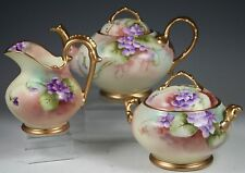 TEAPOT W CREAMER & COVERED SUGAR HAND PAINTED Violets