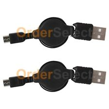 2 Black Micro USB Retract Battery Charger Cable for HTC One 9 Huawei 5X Honor 5X