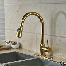 "Gold Finished Kitchen Deck Mounted  Pull Down  Sink Faucet With 10""Cover Plate"