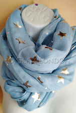 Star Scarf Sky Blue Silver Stars Printed Ladies Quality Fashionable Big Wrap