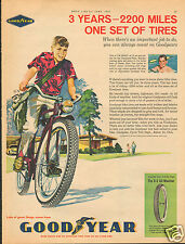 1961 Goodyear G-3 All-Weather Bicycle Tires BSA Paper Boy LARGE Print Ad