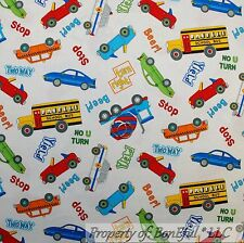 BonEful Fabric FQ Cotton Quilt White Red Blue CAR Truck School Bus B&W Baby Dot