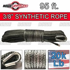 "3/8"" x 95' GRAY Synthetic Winch Line Cable Rope 20k+ LBs with Sheath (SUV JEEP)"