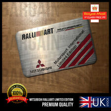 MITSUBISHI MOTORS RALLIART LIMITED EDITION BRUSHED EVO LANCER TURBO CAR BADGE