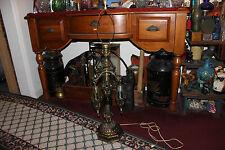 Vintage Rococo Table Lamp-Hanging Enclosed Crystals-Chandelier Lamp-Heavy