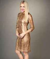BNWT ❤️ TAHARI ❤️ UK Size 16-18  (14 US, 46 EU) Sequinned Snake Gold Dress