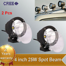 "2pcs 25W 4"" inch Round CREE LED Work Light Spot Offroad Driving Fog JEEP UTE SUV"