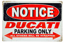 Vintage Style Metal Sign Ducati Parking Only Bar Pub Garage Wall Decor Plaques