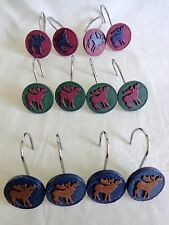 Shower Curtain Hooks Set of 12 Moose Blue Red Green Elk Cabin Lodge Man Cave