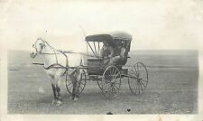 c1910 Real Photo PC 2 Men in Overalls, Dapple Gray Horse & Buggy on the Prairie