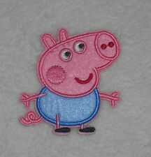 george from peppa pig 7x6.8cm embroided iron on patch,motif,boys novelty