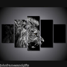 Lion black and white art print poster canvas 5 pieces