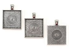 "20 Pack - 1"" Square Pendant Trays - Antique Silver Color - 25mm - Cameo Blanks"