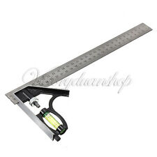 "Adjustable 300mm (12"") Engineers Combination Try Square Ruler Set Angle Level"