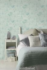 Duck Egg Blue & Gold, French Inspired Wallpaper with Calligraphy and Butterflies