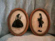 Vintage Pair of Reverse Hand Painted Victorian Silhouttes Framed Peter Watson