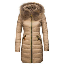 Brand New Womens Thick Duck Down Fur Collar Long Parka Jacket Padded Winter Coat