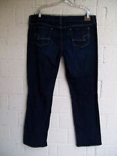 WOMEN'S AMERICAN EAGLE JEANS SIZE 16 REG STRAIGHT STRETCH BLUE DENIM PREOWNED
