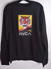 2015 NWT MENS RVCA TIGRIS FLEECE M $42 BLACK va yellow and red tiger