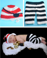 Newborn Baby Boys Crochet Knit Pirate Costume Outfits Photography Photo Props