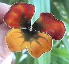LARGE Norwegian Silver Enamel Pansy Brooch - David  Andersen Norway