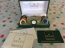 Vintage Gucci 11/12 Ladies Watch Interchangeable Bezels *Full Box*