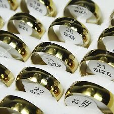 Free shipping 50pcs Wholesale Jewelry Lots Top Stainless steel Gold Arc Rings