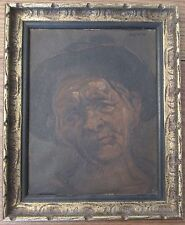 Vintage signed oil painting portrait peasant expressionist character study frame