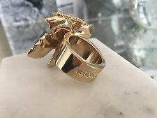 BRAND NEW! Versace for H&M Gold Colored Cocktail flower Ring with Rhinestones.L