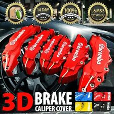 "3D Universal Style Brembo Brake Caliper Cover front and rear 6 pcs Red 10""5 WB01"