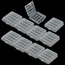 10Pc New Transparent Hard Plastic Case 4 Cell Holder AA/AAA Battery Storage Box
