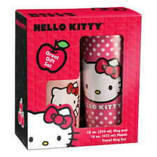 HELLO KITTY Plastic Travel Mug &12oz MUG SET! Gift Boxed VANDOR 18088 FREE SHIP!