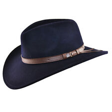 Crushable Felt Cowboy Hat Western Hat Navy, Black, Brown & Green - 100% Wool