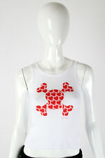 Paul Frank Medium $29 Ladies White Heart Filled Skurvy Pink Tank Top 242620014I