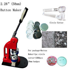 "2-1/4"" 58mm Button Maker Machine Badge Press+1000 Button Supplies+Circle Cutter"