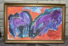 Neith Nevelson Abstract Purple Horses Kicking Away Signed 1995