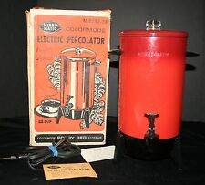 Rare Vintage Poppy Red Mirro-Matic Electric Coffee Percolator 22 Cup Orig Box NM