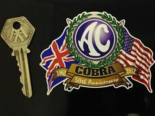 AC COBRA 50th ANNIVERSARY 1962 - 2012 Crossed Flags & Classic car sticker