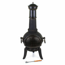 112CM BLACK CAST IRON STEEL CHIMENEA CHIMNEA CHIMINEA HEATER WOOD FIRE PIT PATIO